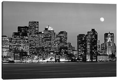 Massachusetts, Boston At Night (Black And White) Canvas Art Print