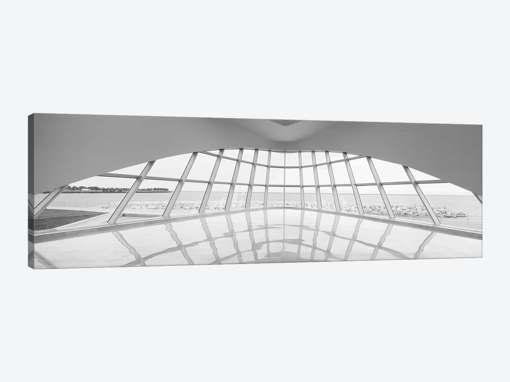 Milwaukee Art Museum, Milwaukee, Wisconsin, USA (Black And White) by Panoramic Images 1-piece Canvas Print