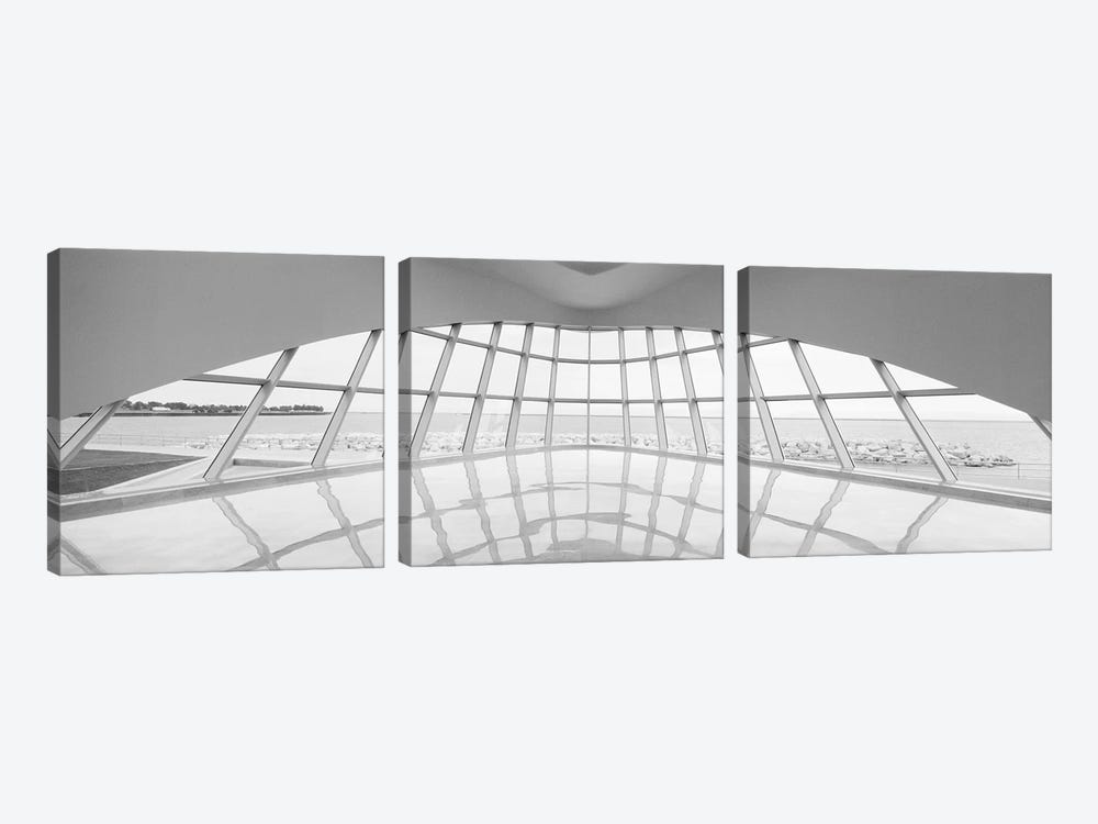 Milwaukee Art Museum, Milwaukee, Wisconsin, USA (Black And White) by Panoramic Images 3-piece Canvas Art Print