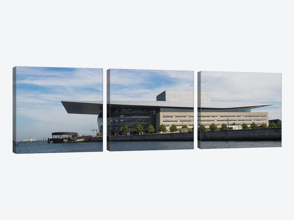 Modern Building At The Waterfront, Copenhagen Opera House, Holmen, Copenhagen, Denmark by Panoramic Images 3-piece Canvas Artwork