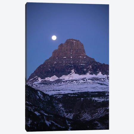 Moon Over Mountain Peak, Glacier National Park, Montana, USA Canvas Print #PIM14748} by Panoramic Images Canvas Artwork