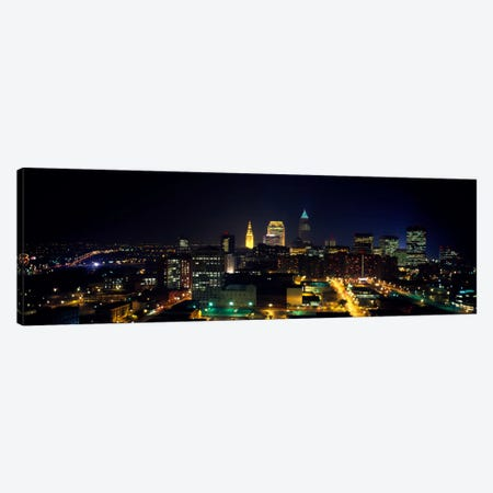 Aerial view of a city lit up at nightCleveland, Ohio, USA Canvas Print #PIM1474} by Panoramic Images Canvas Print