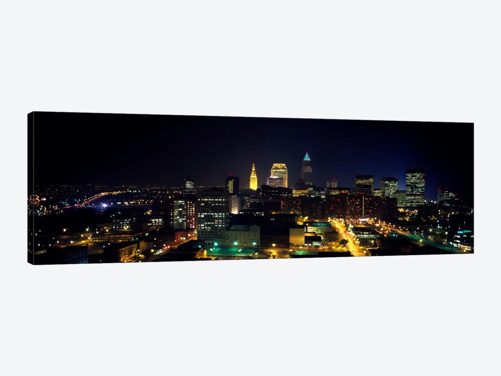 Aerial view of a city lit up at nightCleveland, Ohio, USA by Panoramic Images 1-piece Canvas Artwork