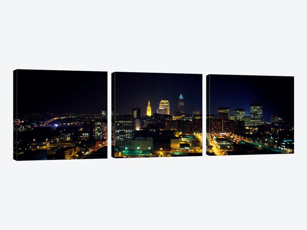 Aerial view of a city lit up at nightCleveland, Ohio, USA by Panoramic Images 3-piece Canvas Artwork