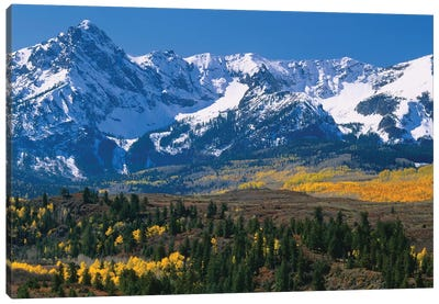Mountains Covered In Snow, Sneffels Range, Colorado, USA Canvas Art Print