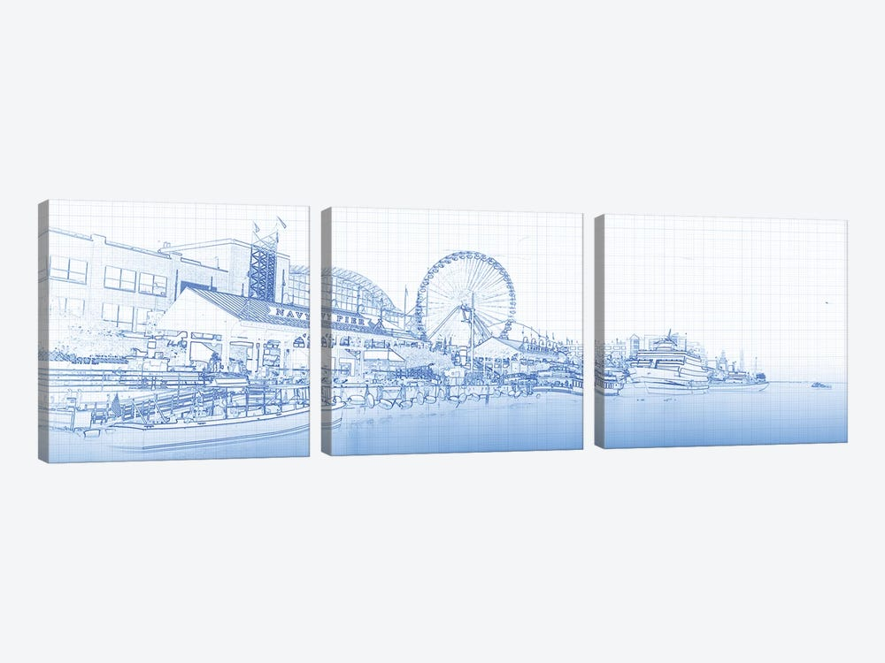 Navy Pier And Skyline At The Waterfront, Chicago, USA by Panoramic Images 3-piece Canvas Artwork