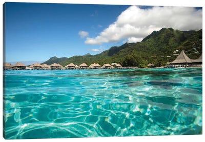 Over Under, Half Water-Half Land, Bungalows On The Beach, Moorea, Tahiti, French Polynesia Canvas Art Print
