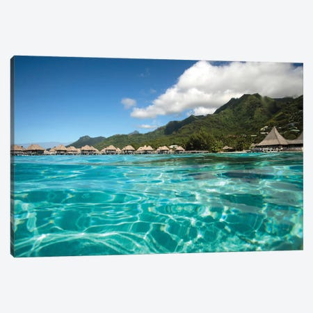 Over Under, Half Water-Half Land, Bungalows On The Beach, Moorea, Tahiti, French Polynesia Canvas Print #PIM14757} by Panoramic Images Canvas Artwork