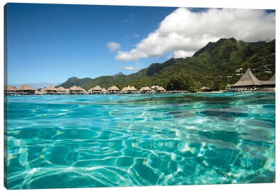 Over Under, Half Water-Half Land, Bungalows On The Beach, Moorea, Tahiti, French Polynesia Canvas Art Print