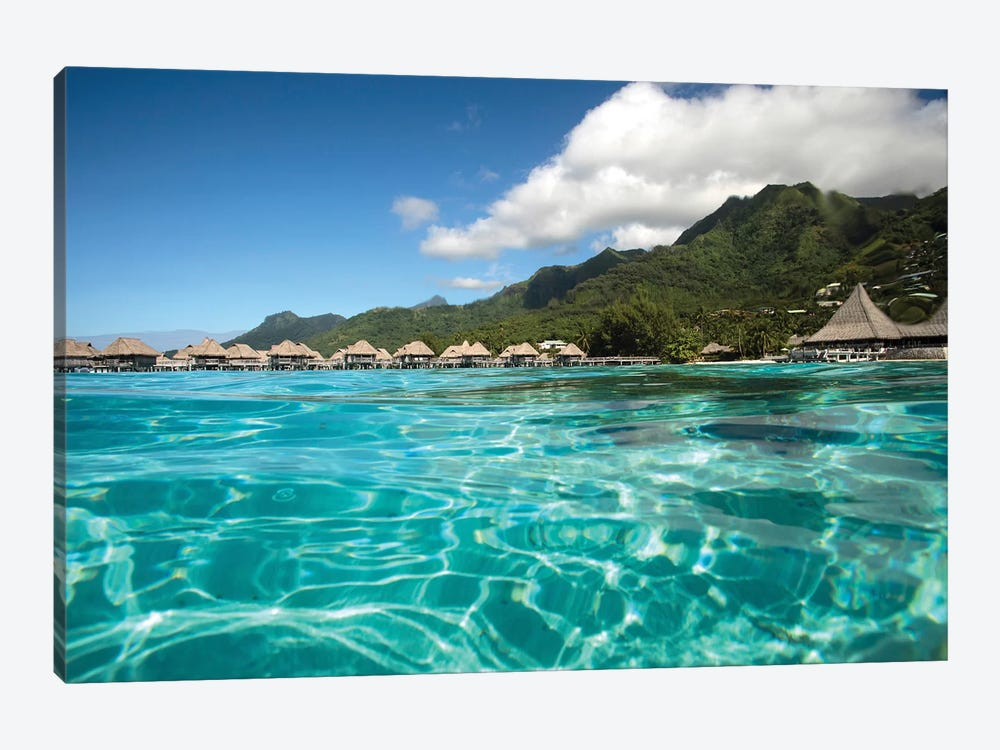 Over Under, Half Water-Half Land, Bungalows On The Beach, Moorea, Tahiti, French Polynesia by Panoramic Images 1-piece Canvas Art Print