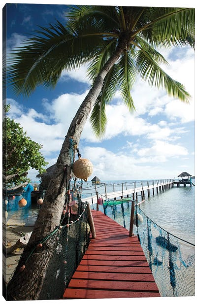 Palm Trees And Dock, Bora Bora, Society Islands, French Polynesia Canvas Art Print