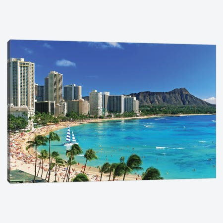Palm Trees On The Beach, Diamond Head, Waikiki Beach, Oahu, Honolulu, Hawaii, USA Canvas Print #PIM14780} by Panoramic Images Canvas Wall Art