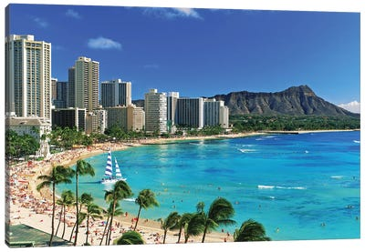 Palm Trees On The Beach, Diamond Head, Waikiki Beach, Oahu, Honolulu, Hawaii, USA Canvas Art Print