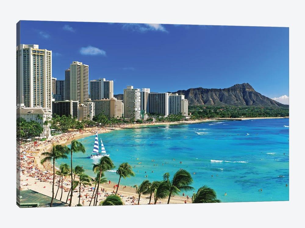 Palm Trees On The Beach, Diamond Head, Waikiki Beach, Oahu, Honolulu, Hawaii, USA by Panoramic Images 1-piece Art Print