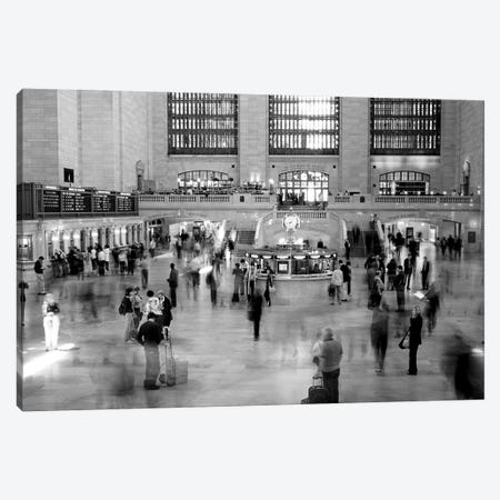 Passengers At Grand Central Station, Manhattan, NYC, New York State, USA (Black And White) Canvas Print #PIM14786} by Panoramic Images Art Print