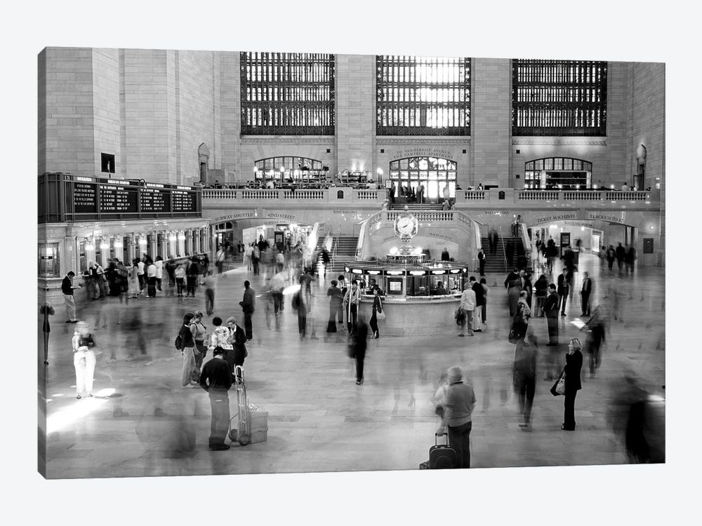 Passengers At Grand Central Station, Manhattan, NYC, New York State, USA (Black And White) by Panoramic Images 1-piece Canvas Print