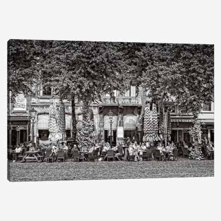 People At Sidewalk Café, Het Plein, The Hague, South Holland, Netherlands Canvas Print #PIM14787} by Panoramic Images Art Print