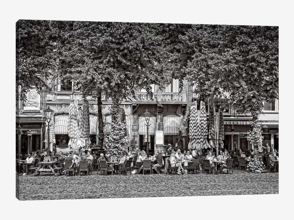 People At Sidewalk Café, Het Plein, The Hague, South Holland, Netherlands by Panoramic Images 1-piece Canvas Artwork