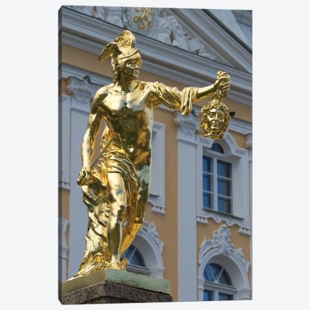 Perseus Statue At Grand Cascade In Peterhof Grand Palace, Petergof, St. Petersburg, Russia Canvas Print #PIM14788} by Panoramic Images Canvas Artwork