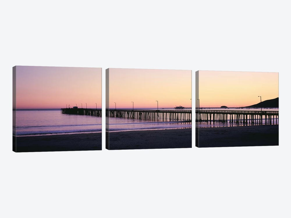Pier At Sunset, Avila Beach Pier, San Luis Obispo County, California, USA by Panoramic Images 3-piece Canvas Wall Art