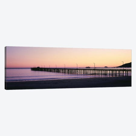 Pier At Sunset, Avila Beach Pier, San Luis Obispo County, California, USA Canvas Print #PIM14789} by Panoramic Images Canvas Artwork