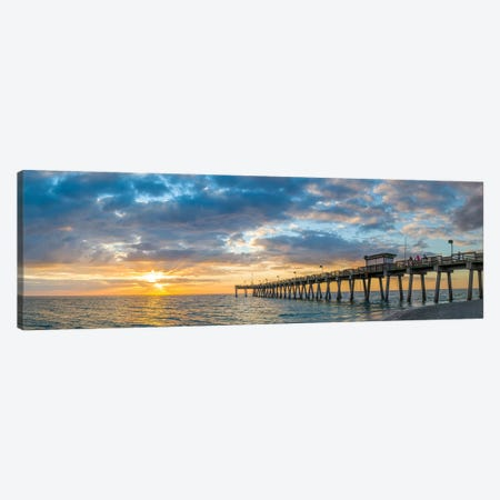 Pier In Atlantic Ocean At Sunset, Venice, Sarasota County, Florida, USA Canvas Print #PIM14790} by Panoramic Images Canvas Print