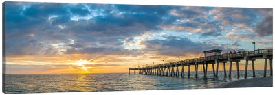 Pier In Atlantic Ocean At Sunset, Venice, Sarasota County, Florida, USA Canvas Art Print