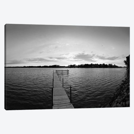 Pier In Lake Minnetonka, Minnesota, USA (Black And White) Canvas Print #PIM14791} by Panoramic Images Canvas Art Print