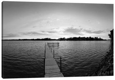 Pier In Lake Minnetonka, Minnesota, USA (Black And White) Canvas Art Print