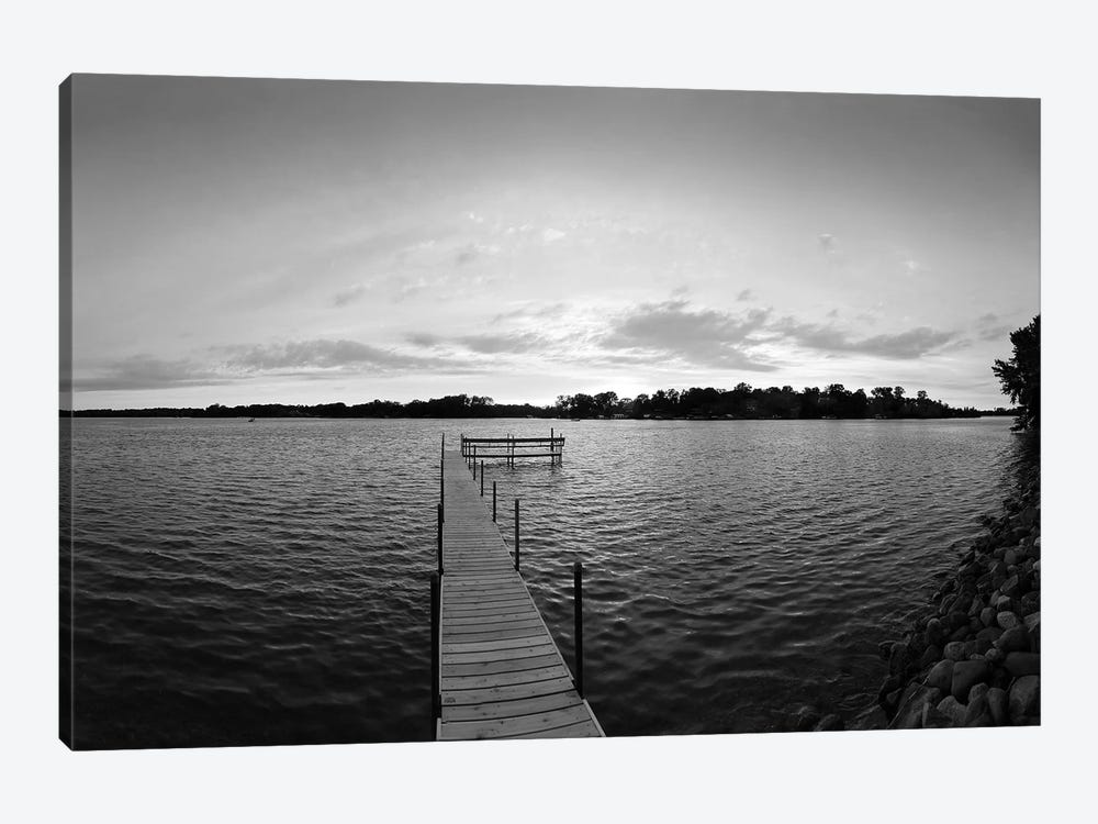 Pier In Lake Minnetonka, Minnesota, USA (Black And White) by Panoramic Images 1-piece Canvas Print