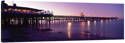 Pier Lit Up At Night, San Clemente Pier, San Clemente, Orange County, California, USA Canvas Art Print