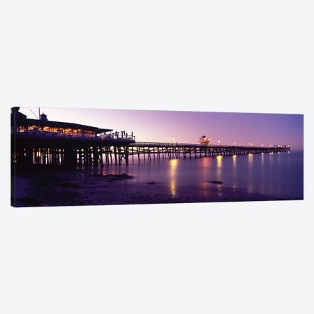Pier Lit Up At Night, San Clemente Pier, San Clemente, Orange County, California, USA Canvas Print #PIM14793} by Panoramic Images Art Print