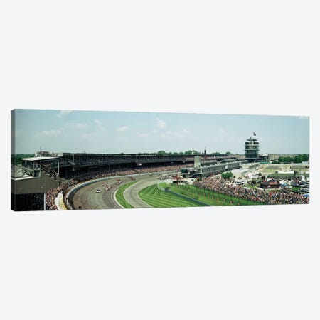 Race Cars In Pace Lap At Indianapolis Motor Speedway, Indianapolis 500, Indiana, USA I Canvas Print #PIM14797} by Panoramic Images Canvas Art