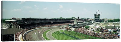 Race Cars In Pace Lap At Indianapolis Motor Speedway, Indianapolis 500, Indiana, USA I Canvas Art Print