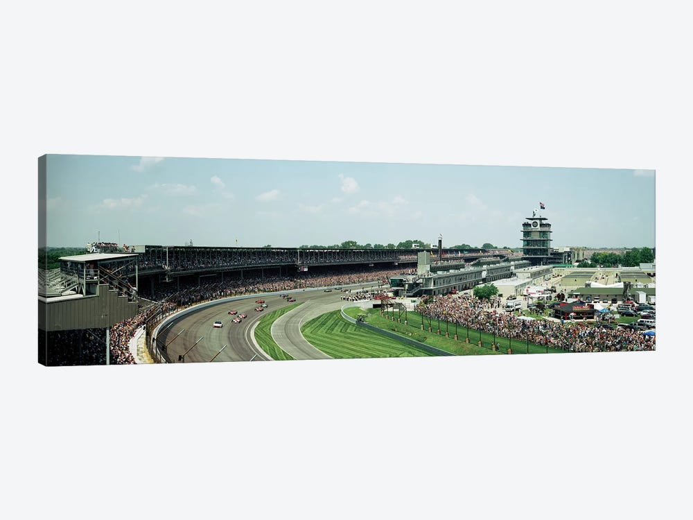 Race Cars In Pace Lap At Indianapolis Motor Speedway, Indianapolis 500, Indiana, USA I by Panoramic Images 1-piece Canvas Art Print