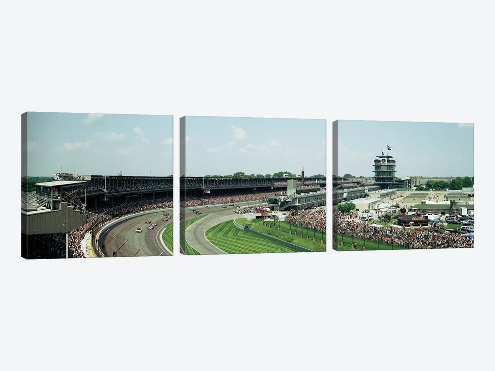 Race Cars In Pace Lap At Indianapolis Motor Speedway, Indianapolis 500, Indiana, USA I by Panoramic Images 3-piece Art Print