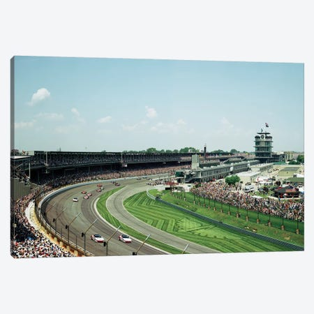 Race Cars In Pace Lap At Indianapolis Motor Speedway, Indianapolis 500, Indiana, USA II Canvas Print #PIM14798} by Panoramic Images Canvas Print