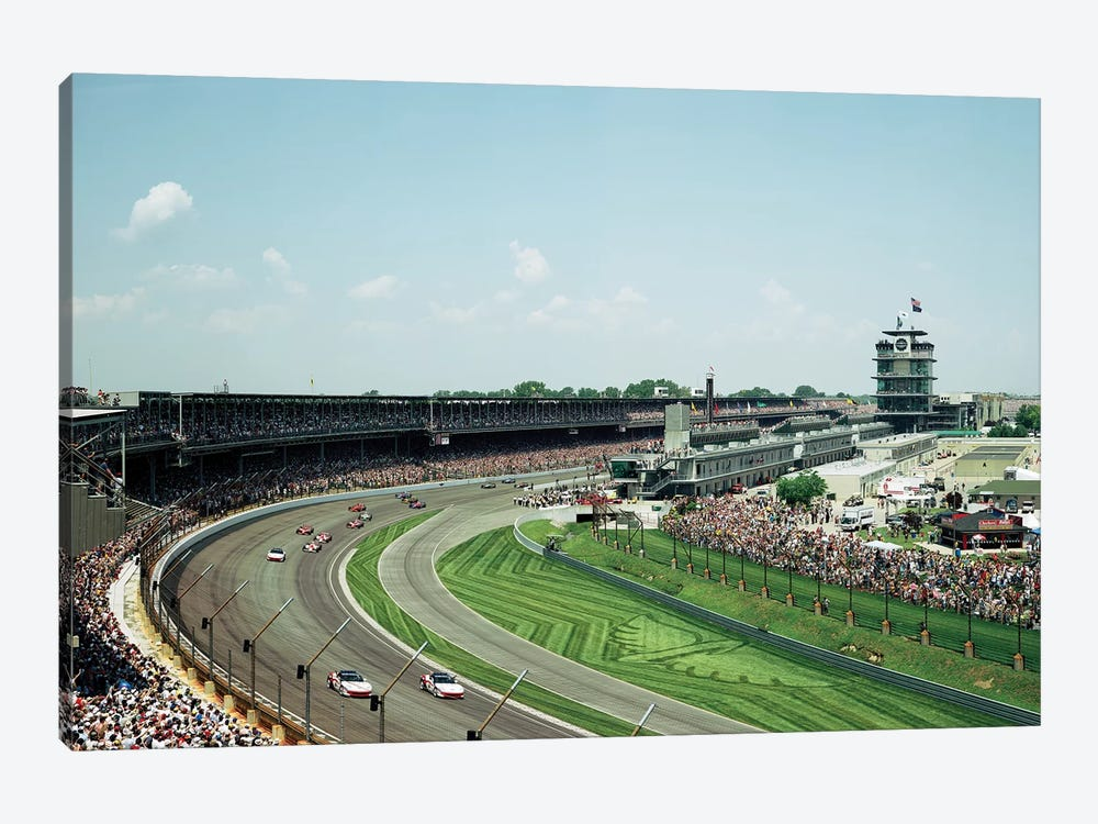 Race Cars In Pace Lap At Indianapolis Motor Speedway, Indianapolis 500, Indiana, USA II 1-piece Canvas Wall Art