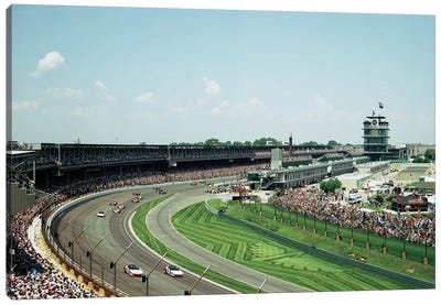 Race Cars In Pace Lap At Indianapolis Motor Speedway, Indianapolis 500, Indiana, USA II Canvas Art Print