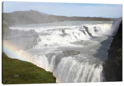 Rainbow Over Gullfoss Falls On The Hvita River, Iceland Canvas Art Print
