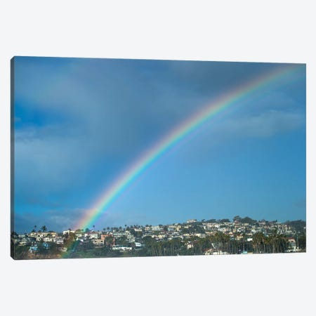 Rainbow Over Houses In A Town, San Pedro, Los Angeles, California, USA Canvas Print #PIM14804} by Panoramic Images Canvas Artwork