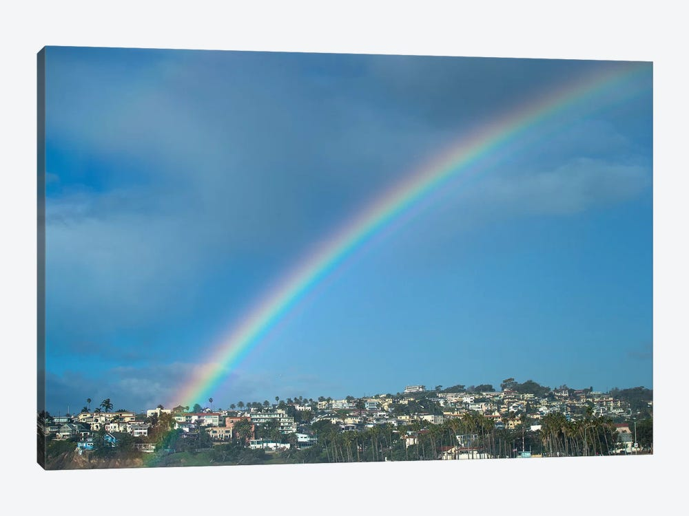 Rainbow Over Houses In A Town, San Pedro, Los Angeles, California, USA by Panoramic Images 1-piece Canvas Art Print