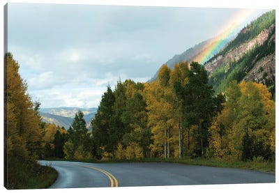 Rainbow Over Mountain Range, Maroon Bells, Maroon Creek Valley, Aspen, Pitkin County, Colorado, USA Canvas Art Print