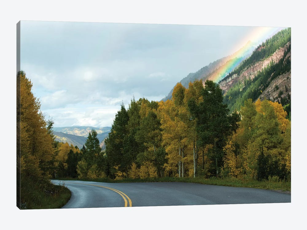 Rainbow Over Mountain Range, Maroon Bells, Maroon Creek Valley, Aspen, Pitkin County, Colorado, USA by Panoramic Images 1-piece Canvas Wall Art