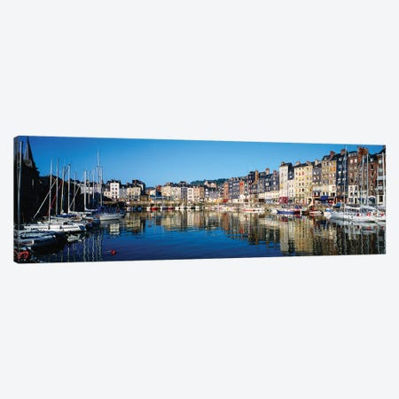 Reflection Of Buildings In Water, Honfleur, Normandy, Calvados, France Canvas Print #PIM14811} by Panoramic Images Canvas Art