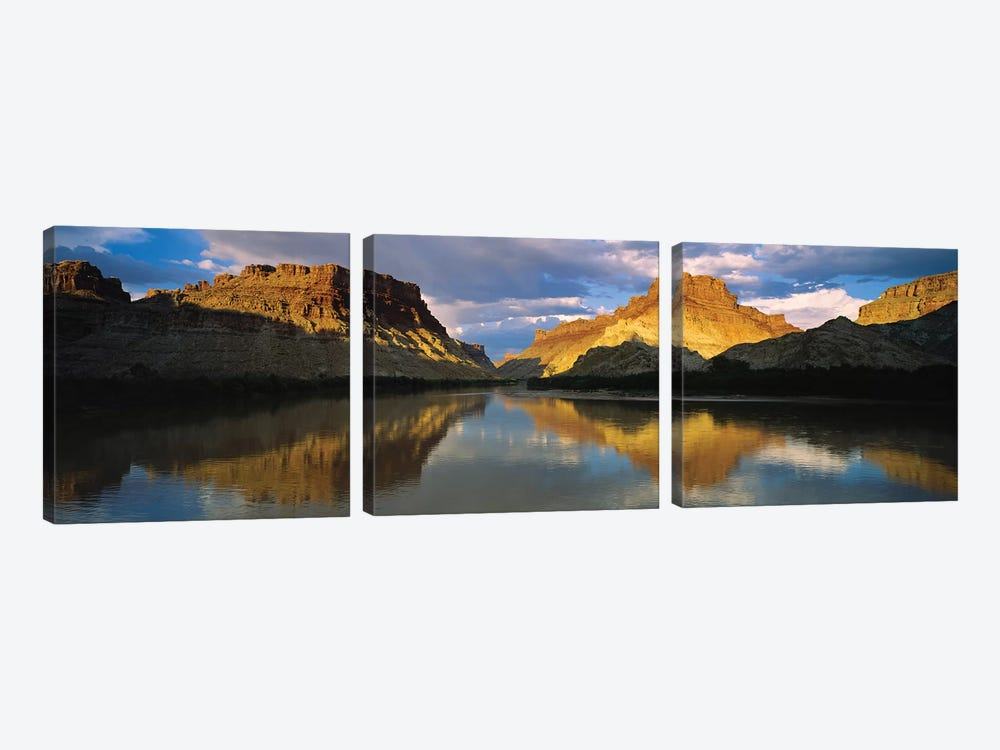 Reflection Of Cliffs In River, Canyonlands National Park, Colorado River, Utah, USA by Panoramic Images 3-piece Canvas Wall Art