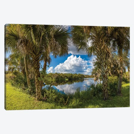 Reflection Of Clouds On Water, Deer Prairie Creek Preserve, Venice, Sarasota County, Florida, USA Canvas Print #PIM14814} by Panoramic Images Canvas Print