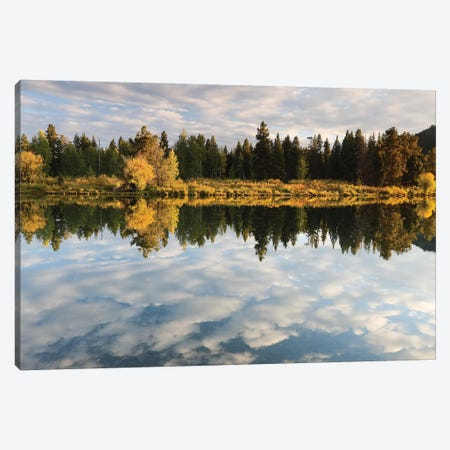 Reflection Of Clouds On Water, Teton Range, Grand Teton National Park, Wyoming, USA 3-Piece Canvas #PIM14815} by Panoramic Images Canvas Print