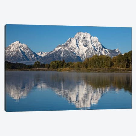 Reflection Of Mountain And Trees On Water, Teton Range, Grand Teton National Park, Wyoming, USA I Canvas Print #PIM14816} by Panoramic Images Canvas Print