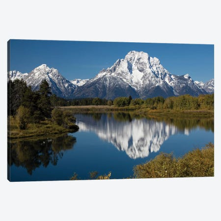 Reflection Of Mountain And Trees On Water, Teton Range, Grand Teton National Park, Wyoming, USA II Canvas Print #PIM14817} by Panoramic Images Canvas Print